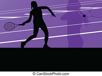Tennis players active sport silhouettes vector background