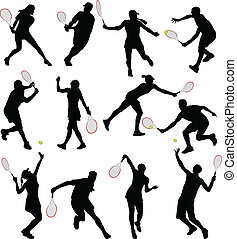 Tennis players silhouettes - vector