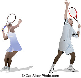 Tennis players. Colored llustration for designers.