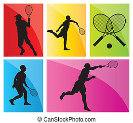 Tennis players silhouettes vector background set - Tennis...