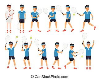 Tennis players, tennis sport athletes in actions