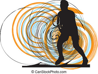 Tennis players. Vector illustration
