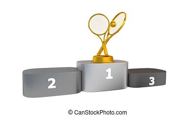 Tennis Podium with Gold Silver and Bronze Trophy Appearing...