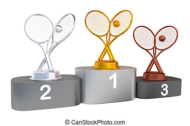Tennis Podium with Gold Silver and Bronze Trophy