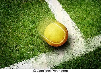 Tennis point - Tennis ball to corner in grass field line