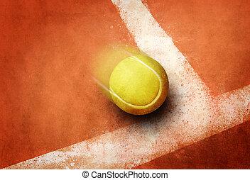 Tennis point - Tennis ball to corner red ground field line