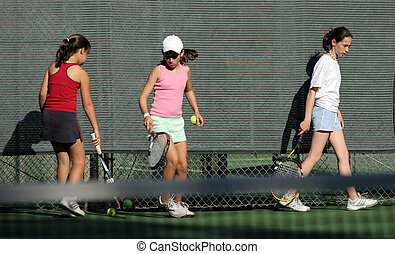 Tennis practice - 3 girls at tennis practice