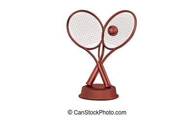 Tennis Racket and Ball Bronze Trophy in Infinite Rotation...