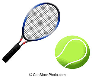 Tennis racket and ball vector illustration, on white...