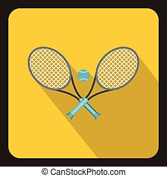 Tennis racket and ball icon, flat style - Tennis racket and...