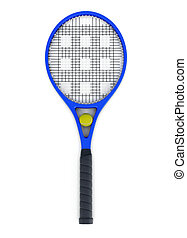 Tennis racket and ball isolated. 3d rendering