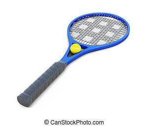 Tennis racket and ball isolated on white background. 3d rendering