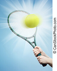 tennis - racket and ball on the blue background