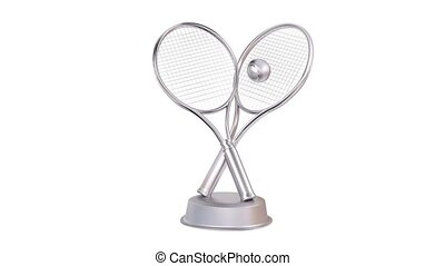 Tennis Racket and Ball Silver Trophy in Infinite Rotation...