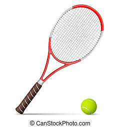 Tennis racket and ball isolated on white background.