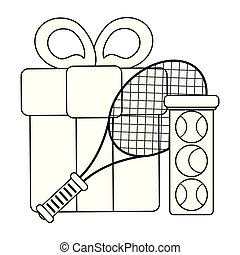 tennis racket and ball with gift box black and white