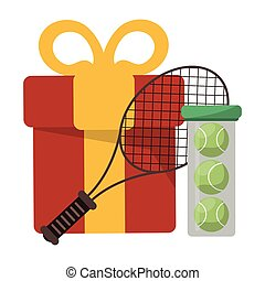 tennis racket and ball with gift box