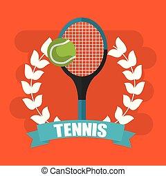 tennis racket and ball wreath banner
