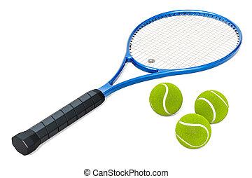 Tennis racket and balls, 3D rendering