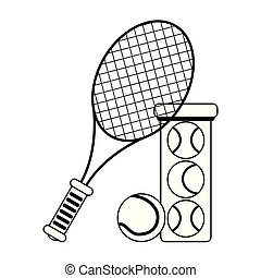 tennis racket and balls in bottle black and white