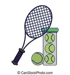 tennis racket and balls in bottle