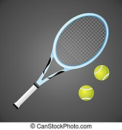 Tennis racket and balls isolated on dark background. Vector illustration