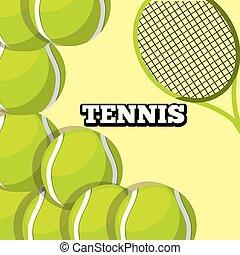 tennis racket and balls sport background design