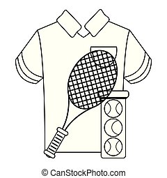tennis racket and balls with tshirt black and white