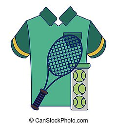 tennis racket and balls with tshirt
