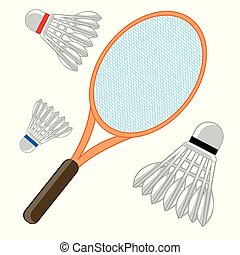 Tennis racket and shuttlecock - Racket and shuttlecock for...