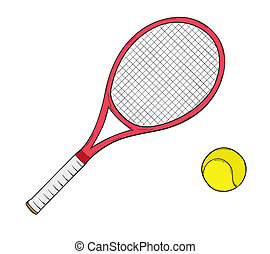 tennis racket - sketch of the tennis racket and ball,...