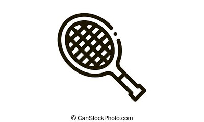 Tennis Racket Icon Animation. black Tennis Racket animated icon on white background