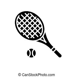 tennis racket icon, vector illustration, black sign on isolated background