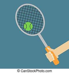 Tennis racket, illustration, vector on white background.