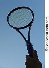 Tennis racket in silhouette