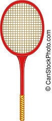 Tennis racket in vintage design on white background
