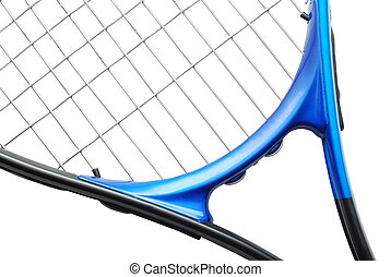 tennis racket over white background