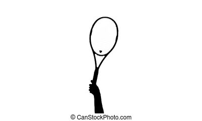 Tennis racket raises above his head and waving it. White background