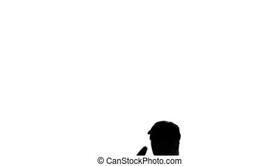 Tennis racket raises and returns the ball. Slow motion. White background