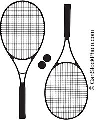Tennis Racket Silhouettes Vector