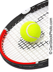Tennis racket with a ball on a white background.