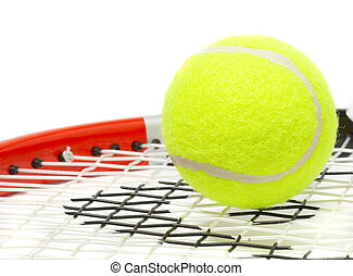 Tennis racket with a ball.