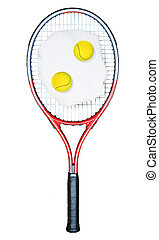 Tennis racket with a white towel and balls