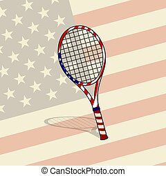 Tennis Racket with American Flag Design
