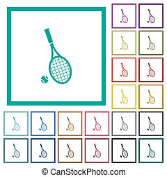 Tennis racket with ball flat color icons with quadrant ...