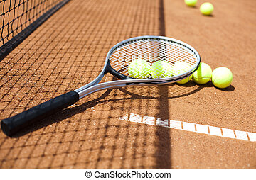 Tennis racket with tennis ball