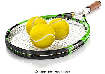 Tennis Racket with Tennis Balls