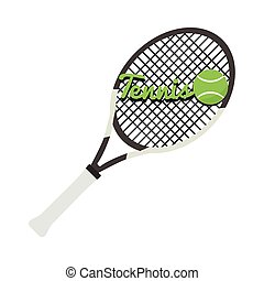 Tennis racket with text