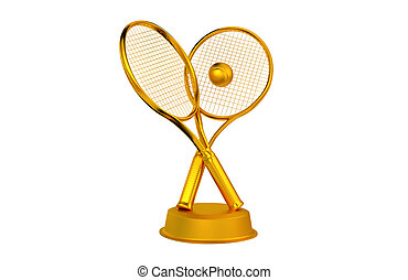 Tennis Rackets and ball Golden Trophy