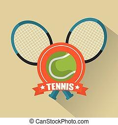 tennis rackets cross and ball sport emblem